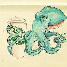 Интересно? Осьминоги также подвержены кофе-мании как и люди? В моем воображаемом мире это так). . Interesting! IAre octopus subject coffee-mania like people? In my imaginary world it is!. #octopus life #octopus #sketch #sketchbook #paper #solan ties #males line #markers #art #funart #скетч #осьминог #кофе #coffee #starbucks by silantiev_kirill