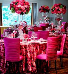 """""""Wedding trends follow fashion,"""" says A Perfect Event's Debi Lilly , """"and this year is all about color: bright, beautiful, bold color. Pink, in particular, is hot when combined with varied soft and jewel toned hues of pink, as well as with chartreuse green, apricot and vivid orange."""" [via @Monica Newby The Hottest (and Wackiest) Wedding Trends]"""