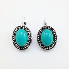 Brinco Oval Prateado com Pedra Azul Turquesa - Cheia de Charme Store