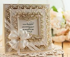 Die cut card using Spellbinders Triple Floral, Spellbinders 6 x 6 Matting Basics A, Spellbinders Imperial Square, Spellbinders Corners and Accents One,