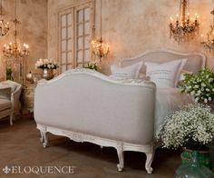 v Sophia Louis XV Linen Upholstered Bed Antique Wh