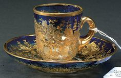 MOSER SILVERED AND GILT DEMITASSE CUP AND SAUCER circa 1910