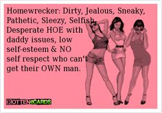 Homewrecker: Dirty, Jealous, Sneaky, Pathetic, Sleezy, Selfish,  Desperate HOE with   daddy issues, low  self-esteem & NO   self respect who can't  get their OWN man.