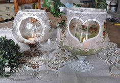 lampiony szklane decoupage