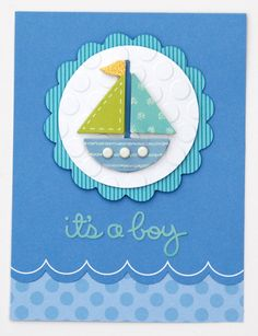 It's A Boy *Doodlebug Design* - Two Peas in a Bucket Baby Boy Cards, New Baby Cards, Baby Shower Cards, Scrapbook Bebe, Scrapbook Cards, Cricut Cards, Stampin Up Cards, Baby Kind, Handmade Baby