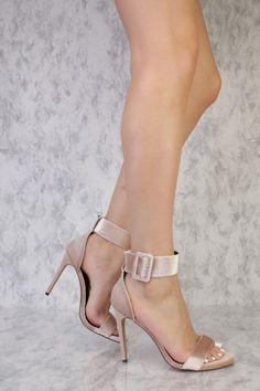 b0c6271fe3ad Nude Velvet Open Toe Wide Ankle Buckle Detail Single Sole High Heels