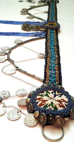 Love the thickness of these beaded medallions.  Tribal bellydance mirrors and coins decorated professional belt, costume piece