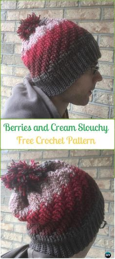 Crochet Berries and Cream Slouchy Hat Free Patterns -Crochet Slouchy Beanie Hat Free Patterns