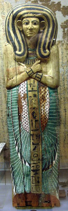 Egyptian woman, Rishi Coffin Lid, 1580–1479 B.C., southern Asasif, Thebes, Upper Egypt - on display at the Metropolitan Museum, New York