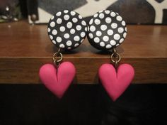 """Pair of Polka Dot Clay Plugs with Heart Danglies - Handmade Girly Gauges - 4g, 2g, 0g, 00g, 7/16"""", 1/2"""", 9/16"""", 5/8"""", 3/4"""" on Etsy, $25.00"""