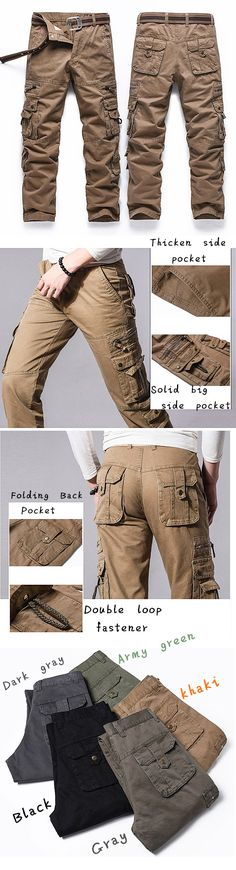 Mens Casual Cargo Pants: Solid Color/ Multi-pockets/ Outdoor