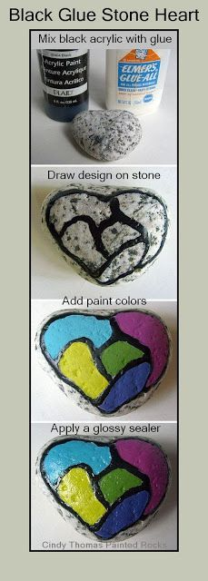 How to Create a Stained Glass Effect on a Stone with Glue and Paint