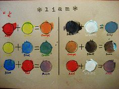 Kira's Crafty Life Blog: Art Lesson with Little Kids: Color Mixing Chart Placemat