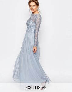 Buy Frock and Frill Embellished Lace Overlay Maxi Dress at ASOS. Get the latest trends with ASOS now. Frock And Frill, Lovely Dresses, Stylish Dresses, Formal Dresses, School Dance Dresses, Maxi Robes, Embellished Dress, Chiffon Dress, White Chiffon