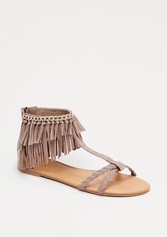 Taupe Fringed T-Strap Sandal by Qupid | rue21