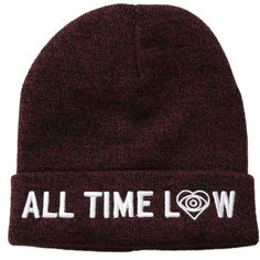 All Time Low Red Marled Beanie | Hot Topic ($7.60) ❤ liked on Polyvore featuring accessories, hats, beanie, all time low, red beanie, embroidered hats, red hat, logo beanie hats and beanie hats