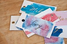 Free Printable: watercolor tags with 8 different color options | By http://susanbrand.co.za via http://limnandlovely.com