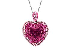 A sugar-sweet pendant that will melt even the coolest of admirers! Shades of rosy Swarovski crystal bring depth and shimmering dimension to a stylized heart figure set in sterling silver. Piece measures 7/8 by 5/8 inches.Comes with a sterling silver 18-inch box chain.