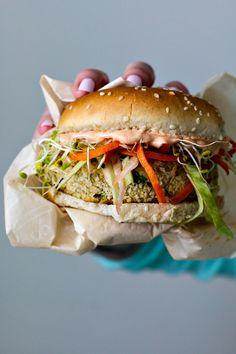 White Bean Burger With Sesame Ginger Slaw + Gochujang Yogurt Spread