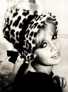 Brigitte Bardot in leopard print hat cheetah print animal print