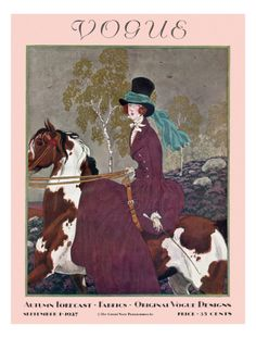 Posters, Magazine art, Fashio Illustrations, Vintage Vogue Covers - September 1 1927 Poster Print by Pierre Brissaud. Vogue Magazine Covers, Fashion Magazine Cover, Magazine Art, Horse Fashion, Fashion Art, Daily Fashion, Fashion Drawings, Vogue Vintage, Vintage Vogue Covers
