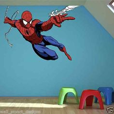 Full Colour Spiderman Wall Sticker Decal Mural Transfer boys bedroom Graphic 3 | eBay