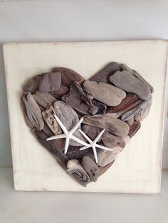 Driftwood Art, Driftwood heart  Driftwood decor,  Beach Decor, Starfish,  Coastal decor, Wedding inspiration