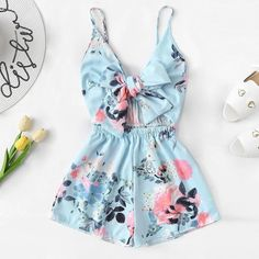 Women's V-Neck Casual Sleeveless Tie Front Floral Print Cami Romper Teenage Outfits, Teen Fashion Outfits, Outfits For Teens, Girl Fashion, Girl Outfits, Fashion Women, Fashion Styles, Fashion Boots, Fashion Black