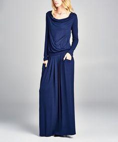 Look what I found on #zulily! Navy Long-Sleeve Pocket Maxi Dress #zulilyfinds