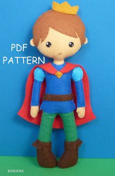 PDF sewing pattern to make a felt prince 7 inches tall.  It is not a finished doll.  Includes tutorial with pictures and step by step explanation.  For