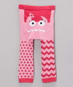 Look at this Pink Monster Face Leggings - Infant on #zulily today!