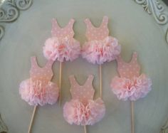 Cumpleaños decoración bailarina Tutu Cupcake Toppers conjunto de 6 para Ballet fiesta feliz cumpleaños