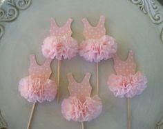 Ballerina Tutu Cupcake Toppers Set 6 für Ballett Party Happy Birthday