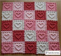 Heart Motifs Baby Blankey Crochet Pattern by Peach.Unicorn by PeachUnicornCrochet on Etsy https://www.etsy.com/au/listing/272920828/heart-motifs-baby-blankey-crochet