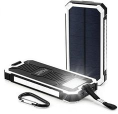 Solar Charger FKANT Portable Dual USB Solar Battery Charger External Battery Pack Phone Charger Power Bank with Flashlight for iPhone iPad Samsung HTC Cellphones and More ** Learn more by visiting the image link. Solar Phone Chargers, Solar Battery Charger, Best Camping Gear, Usb, Tablet Phone, Laptop, Lead Acid Battery, Portable Charger, Solar Power
