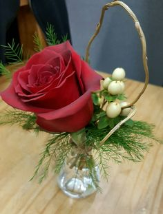 Small rose bud vases for buffet table