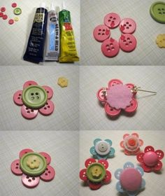 Button Hair Clips. I was thinking if you glued or sewed them on a solid colored headband then they would be adorable :)
