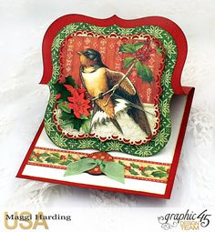 """A simple card with a beautiful presentation as an easel card, using Graphic 45's """"Winter Wonderland"""" collection."""