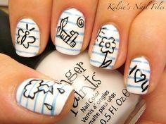 loose leaf and doodle nail design