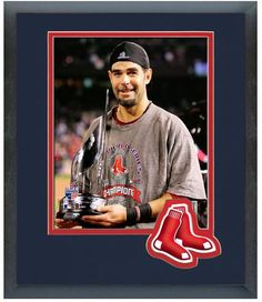 "Mike Lowell Red Sox 2007 World Series MVP Trophy - 11"" x 14"" Matted/Framed Photo"