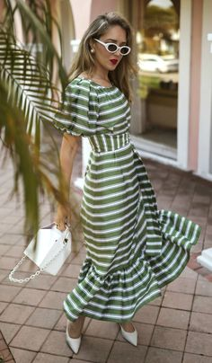 Putting Winter On Pause: Warm Weather Stripes // Green and white satin striped m… – Women's Fashion Pop And Suki, Summer Stripes, Summer Outfits, Summer Dresses, Striped Maxi Dresses, Green Dress, Leather Mules, White Leather, Wrap Dress