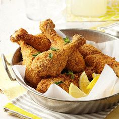 oven fried drumsticks  Preheat oven to 375 degrees F. Grease two large shallow baking pans; set aside. In a small bowl combine egg product and milk. In a shallow dish combine Parmesan cheese, bread crumbs, oregano, paprika, and pepper.