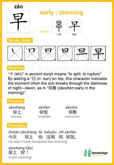 "Hanbridge Mandarin Study Card--Chinese character ""早"",the common phrase is ""早上""(morning)"