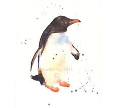 PENGUIN Print, Snowdust the Penguin, penguin painting, penguin print, north pole