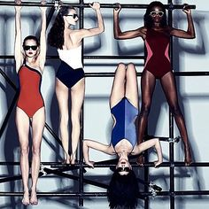 'Balancing Act' by Robbie Fimmano for Interview June 2014 Swimsuits 2014, Vintage Swimsuits, Women Swimsuits, Pool Fashion, Fashion Poses, Fashion Group, Sport Style, Sport Chic, Chic Et Choc