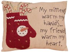 Prim Christmas Mittens Pillow