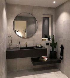 Round mirrors for bathroom with lighting dan granite wall Luxury Master Bathrooms, Bathroom Design Luxury, Rustic Bathrooms, Modern Bathroom Design, Modern Toilet Design, Minimal Bathroom, Cozy Bathroom, Small Bathroom, French Bathroom