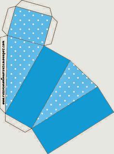 Caja porción azul y topos.