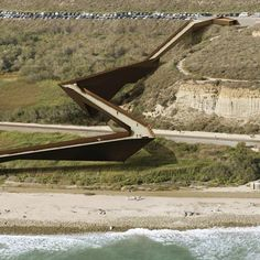 Design for a pedestrian footbridge on Trestles Beach, a surf spot in southern California.