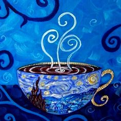 #Latte #coffee #cup art Starry Night Mocha Coffee♥Craft ToniK ~ Painting by Dana Marie ebsqart.com